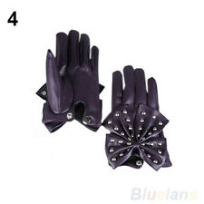 Women's LADY Fashion Perfect Rivets Butterfly Bow Soft Faux Leather Gloves B77U