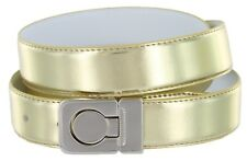 Leather Fashion Belt, Metallic Gold with Nickel Plated Channel Buckle