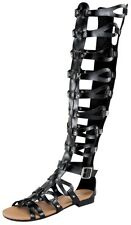 New Sexy Women Faux Leather Strappy Knee High Gladiator Flats Shoes Sandal BLACK