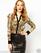 Karen Millen Croc Print Silk Long Sleeve Button Evening Top Shirt Blouse £110