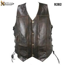 Mens Xelement Retro Brown 10 Pocket Premium Leather Motorcycle Biker Vest Sizes