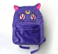 Moon Star Bag Lunar Cat Furry Fur Embroidery Bookbag Harajuku Backpacks Purple