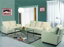 Fiona 3pc Modern Bi-Cast Leather Sofa Loveseat & Chair (Black or White Color)