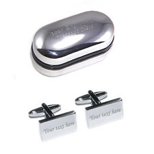 Silver Rectangle Personalised Engraved Cufflinks - Great Men's Gift