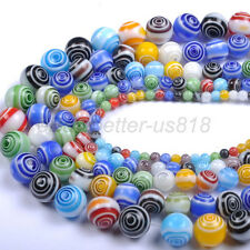 Mixed Round MILLEFIORI Glass Loose Spacer BEADS - Choose 4MM 6MM 8MM 10MM 12MM