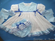 Adult Baby Sissy ~ Simply Blue Dress Set ~ Binkies n Bows