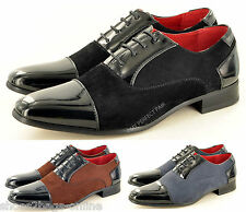 New Mens Faux Suede & Patent Formal Wedding Lace Up Shoes UK Sizes 6 7 8 9 10 11