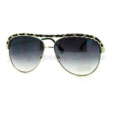 Leather Chain Weave Top Aviators Womens Designer Fashion Sunglasses