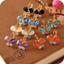 Hot Sales 6 Colors Resin Cute Butterfly Gold Plated Tone Crystal Stud Earrings