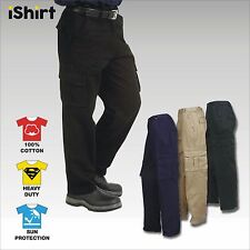 HEAVY 100% COTTON DRILL CARGO PANTS TROUSERS WORKWEAR