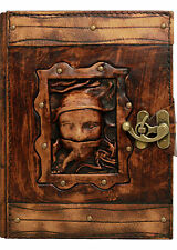 Scarfed Woman Vintage Look Leather Journal / Diary / Notebook / Sketchbook / Art