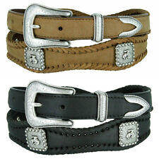 Western Bronco Rider - Mens Silver Engraved Genuine Leather Cowboy Belt, 1-3/8""