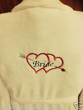 Embroidered Luxury Adult White Soft Bath Robe Dressing Gown Wedding Bride
