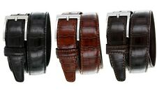 "Mens Italian Calfskin Genuine Leather Designer Dress Belt, 1-3/8"" Wide"