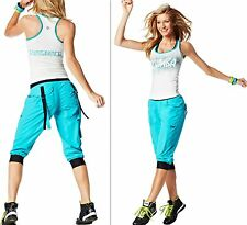 ZUMBA FITNESS INSTRUCTOR Racerback Top & Cargo Capri Pants 2 PIECE SET! S,M,L,XL