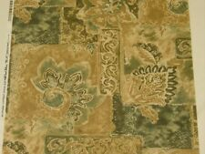 Gold green Floral UPHOLSTERY GRADE FABRIC 4 drapes table runners pillows BTY
