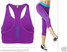 ZUMBA  FITNESS LEGGINGS CAPRIS CAPRI & BRA ~ 2 PIECE SET!!~ Yoga Dance CrossFit