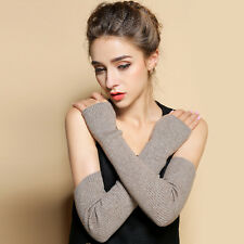 Black Stretchy Long Sleeve Fingerless Gloves Cashmere Blend Arm Warmers Sleeves