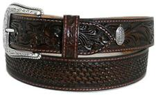 Nocona Western Mens Belt Leather Tooled Weave Mocha 2495402