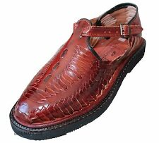Men's Closed Toe Huarache Sandals - WINE - MEXICAN HUARACHES - Leather Sandals