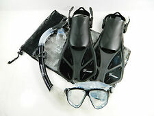 Seavenger Dive Set Snorkel Trek Fin Mask Gear Bag Adult Size S/M/L/XL Black