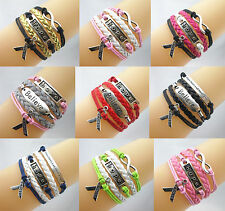 New Infinity/Hope/Believe/Breast Cancer Awareness Sign Leather Braided Bracelet