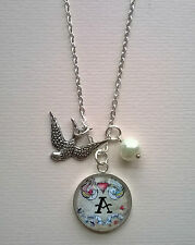 Vintage Rockabilly Style Personalised Initial Alphabet Swallow Charm Necklace