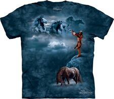 Sacred Song T-Shirt by The Mountain. Horses Equine Native American Indian S-5XL