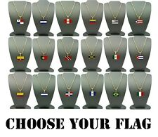 "CHOOSE YOUR NATION COUNTRY FLAG PENDANT 2mm/24"" BOX CHAIN NECKLACE"