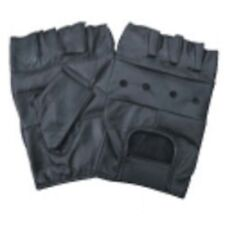 Gloves Fingerless Black Leather Padded Palm 100% Genuine Leather Hand Protection