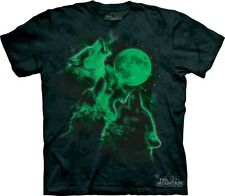 Glow Wolf Moon T-Shirt by The Mountain. Glow in the Dark 3 Wolves Meme S-5XL NEW