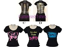 Women Customized shirt workout sports Fitness zumba,yoga Gym, plus size,ribbon