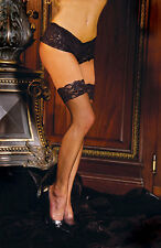 Lace Top Fishnet Thigh High Stockings One Size 8 - 14