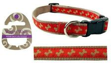 Rosewood WAG'n'WALK Designer Beige / Red Bone Dog Collar - 3 Sizes