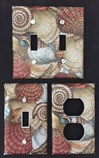 LIGHT SWITCH AND OUTLET COVERS - SEASHELLS - BEACH - BATHROOM - FREE SHIPPING