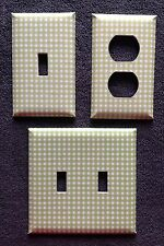 OUTLET COVERS AND LIGHT SWITCH PLATES - GREEN GINGHAM FREE SHIPPING