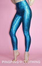 Mermaid Blue Metallic Spandex Leggings Tights Pants High Waisted Fish Scale