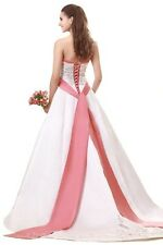 FairOnly Custom Made Strapless White Pink Bridal Gown Wedding Dresses Plus Size