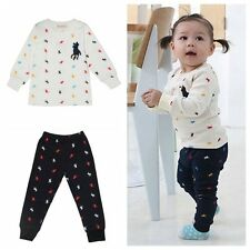 Kids Baby Toddler Girls Boys Unisex Suit Sets POLO Printing Long Sleeve 1-3T