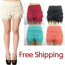 Korean Fashion Women's Sweet Cute Crochet Tiered Lace Shorts Skorts Short Pants