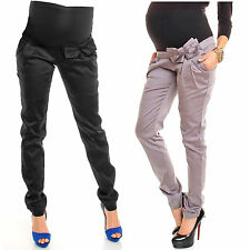Pregnancy Maternity Silky Skinny Low Rise Trousers Pants Bump Panel w/ Bow 035
