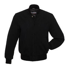 New All Wool Solid Black Varsity Letterman Jacket Stewart and Strauss Destroyer