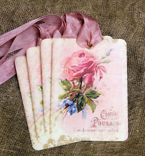 Hang Tags  FRENCH CHOCOLATE PINK ROSE TAGS or MAGNET #281  Gift Tags