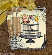 Hang Tags  FRENCH FLOWER BIRD CAGE POSTCARD TAGS or MAGNET #115  Gift Tags