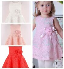 Baby Girls Wedding Lace Sleeveeless Dress Christening Party Dressy Skirts 0-3 Y