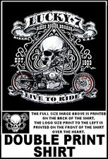 LUCKY 7 LIVE TO RIDE BIKES BOOZE BROADS V-TWIN MOTORCYCLE USA BIKER T-SHIRT W547