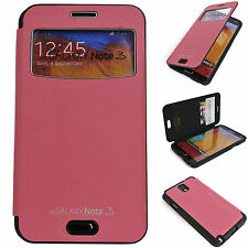Window View Leather Case Flip Cover Back Bumper Wallet PINK Galaxy Note2, 3 III