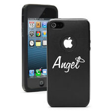 For iPhone 4 4S 5 5S 5c Black Aluminum Silicone Hard Case Cover Angel w/ Halo