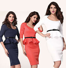 Long Sleeve Belted Peplum Midi Dress LC6163 2014 summer Women Work ol wear