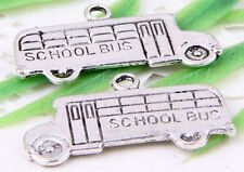 "Wholesale 30/64Pcs Tibetan Silver(Lead-Free)""School  Bus"" Charms Pendant 23x13mm"